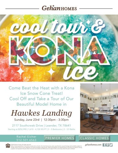 Gehan Homes | Cool Tour & Kona Ice @ Hawkes Landing | Leander | Texas | United States
