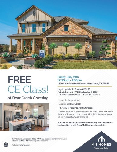 M/I Homes | FREE CE Class: Legal Update II @ Bear Creek Crossing | Manchaca | Texas | United States