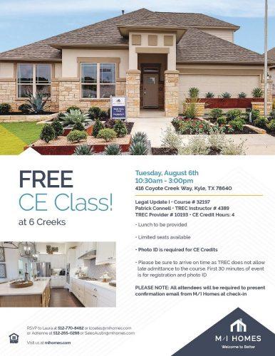 M/I Homes   FREE CE Class @ 6 Creeks   Texas   United States