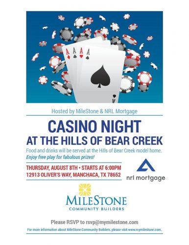 MileStone Community Builders & NRL Mortgage   CASINO NIGHT @ Hills of Bear Creek   Manchaca   Texas   United States