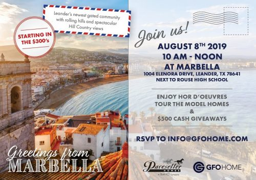 GFO Home and Pacesetter Homes   Broker's Open House: Marbella Community Grand Opening @ Marbella   Leander   Texas   United States
