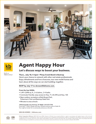 KB Home | Agent Happy Hour @ Piney Creek Bend | Bastrop | Texas | United States