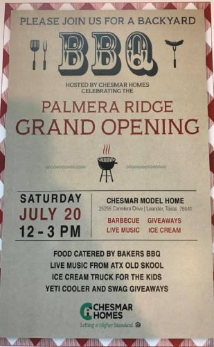 Chesmar Homes | Palmera Ridge Grand Opening @ Palmera Ridge | Leander | Texas | United States