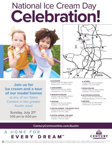 Century Communities | Ice Cream Celebration & Model Tours @ Blackhawk | Pflugerville | Texas | United States
