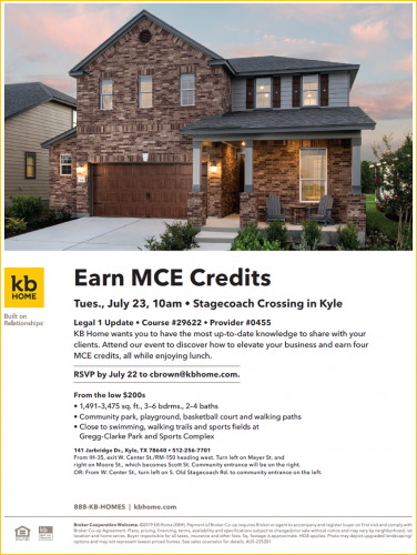 KB Home | Earn MCE Credits: Legal 1 Update Course @ Stagecoach Crossing | Kyle | Texas | United States