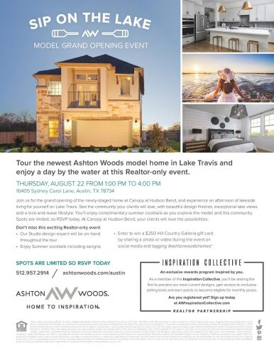 Ashton Woods Homes | Sip On The Lake: Grand Opening In Lake Travis @ Lake Travis | Bee Cave | Texas | United States