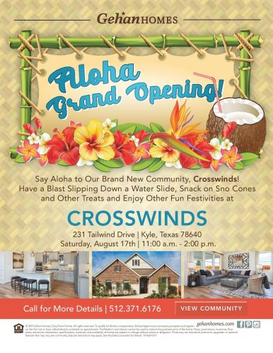 Gehan Homes   Grand Opening At Crosswinds @ Crosswinds   Kyle   Texas   United States