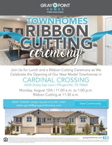 Gray Point Homes   Townhomes Ribbon Cutting Ceremony @ Cardinal Crossing   Pflugerville   Texas   United States