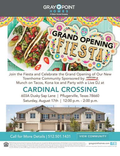 Gray Point Homes   Grand Opening At Cardinal Crossing @ Cardinal Crossing   Pflugerville   Texas   United States