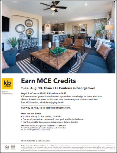 KB Home   MCE Credits & Lunch @ La Conterra   Georgetown   Texas   United States