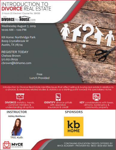 KB Home   CE Credits: Introduction To Divorce Real Estate @ Northridge Park   Austin   Texas   United States