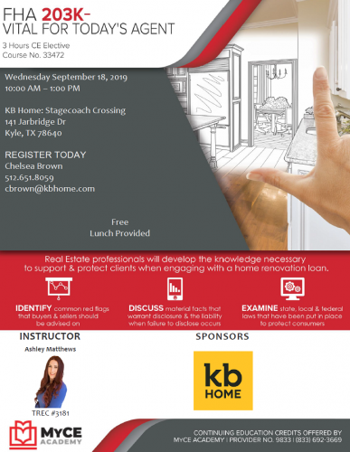 KB Home | FHA CE Course & Lunch @ Stagecoach Crossing | Kyle | Texas | United States