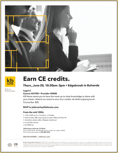 KB Home | Earn CE credits: Legal 2 Update @ Edgebrook | Bulverde | Texas | United States