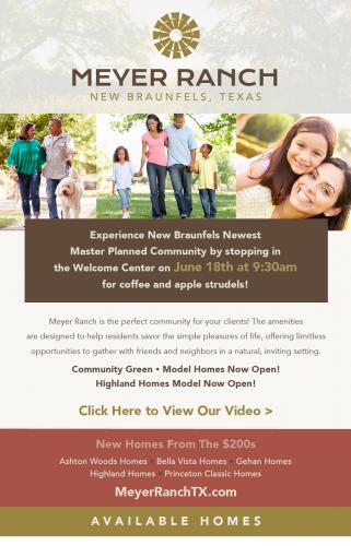 Ashton Woods Homes + Bella Vista Homes + Gehan Homes +  Highland Homes +  Princeton Classic Homes | Strudels and Coffee @ Meyer Ranch | New Braunfels | Texas | United States