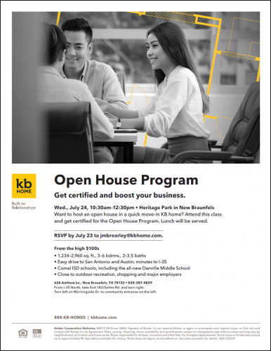 KB Home | Open House Program @ Heritage Park | New Braunfels | Texas | United States