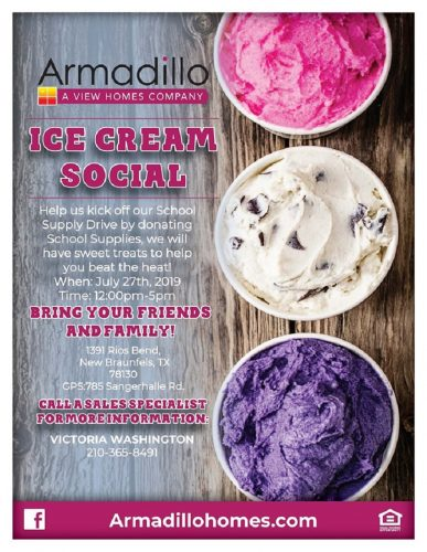Armadillo Homes and Horizon View Homes | Ice Cream Social: Kickoff to School Supply Drive @ 785 Sangerhalle Rd | New Braunfels | Texas | United States